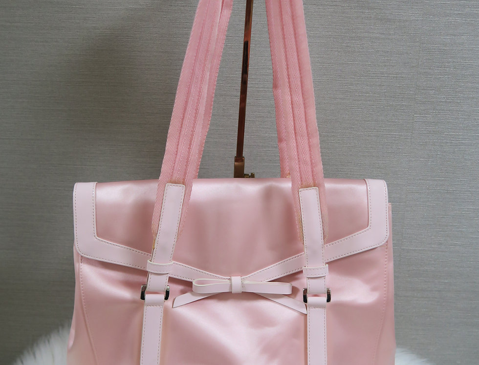 Prada Satin Handbag Light Pink Purse Bow Bag