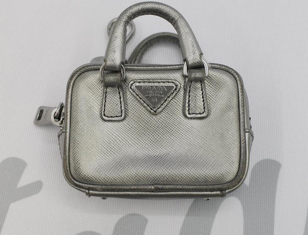Prada Silver Tiny Micro Mini Bag