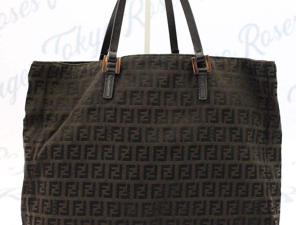 Fendi Black Zucca FF Monogram Canvas Tote Bag Handbag