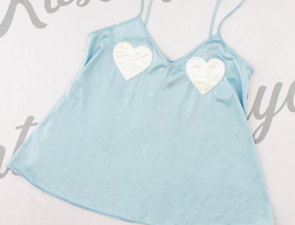 Blue Satin Moschino Heart Cami Top