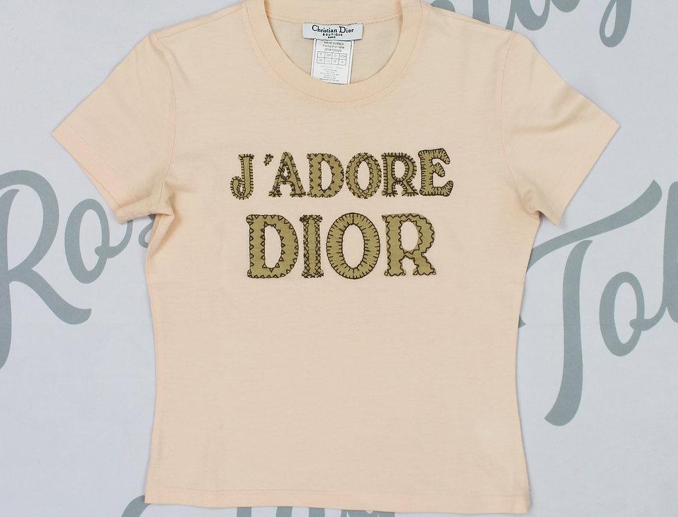 Christian Dior Pink J'adore Dior Logo Print Short Sleeve Shirt