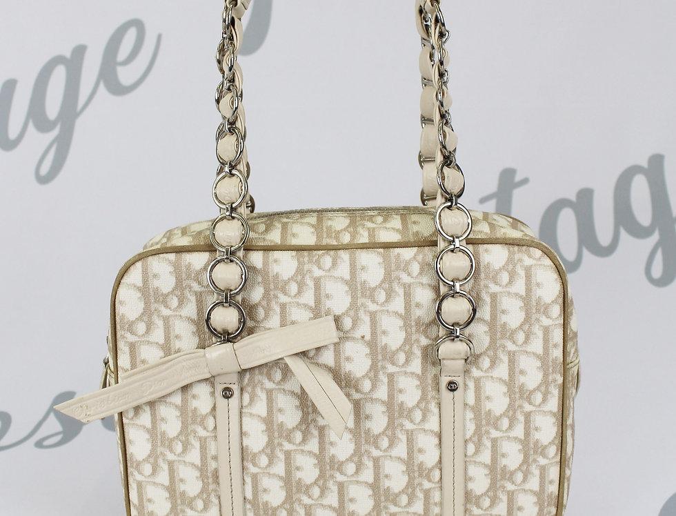 Dior Brown Trotter Monogram Print Bag Handbag Bow