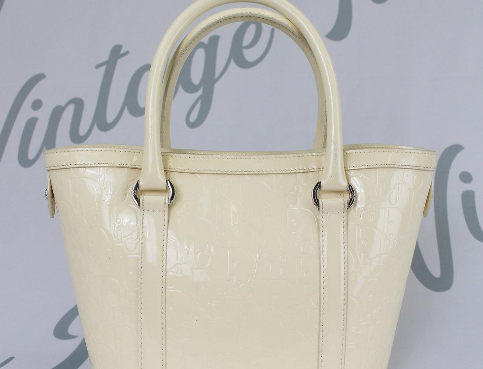 Dior White Monogram Patent Shopper Tote Bag