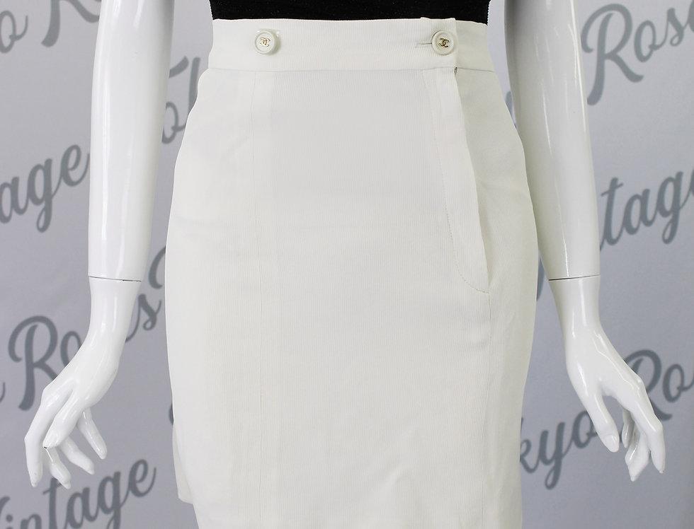 Chanel Cream Skirt Logo Buttons