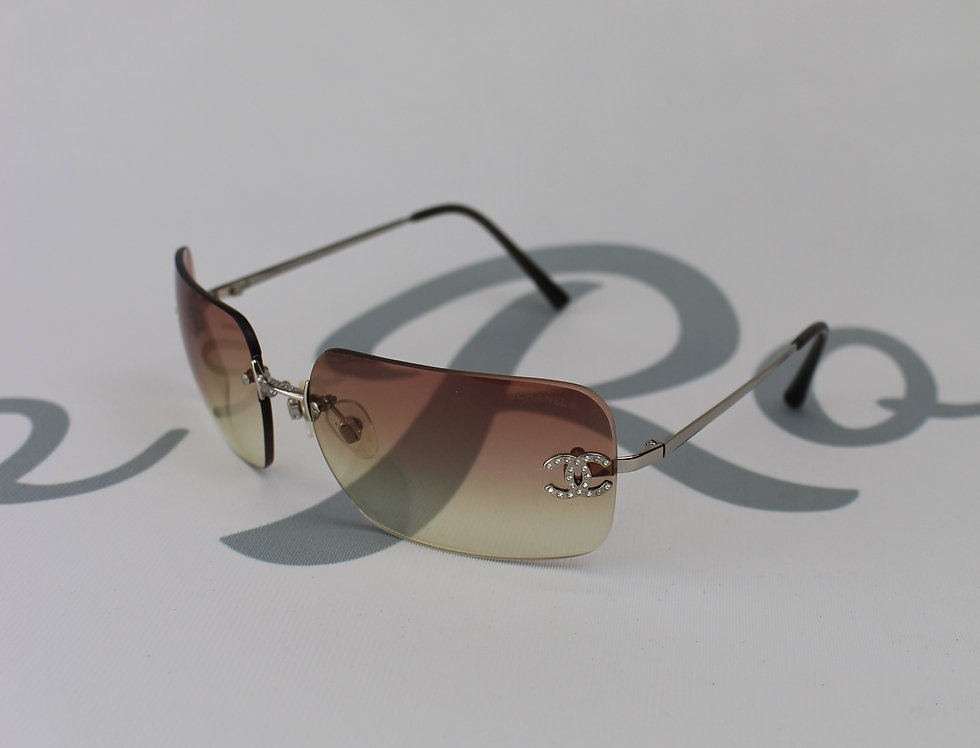 Vintage Chanel Pink Tinted Sunglasses Rhinestone Glasses D