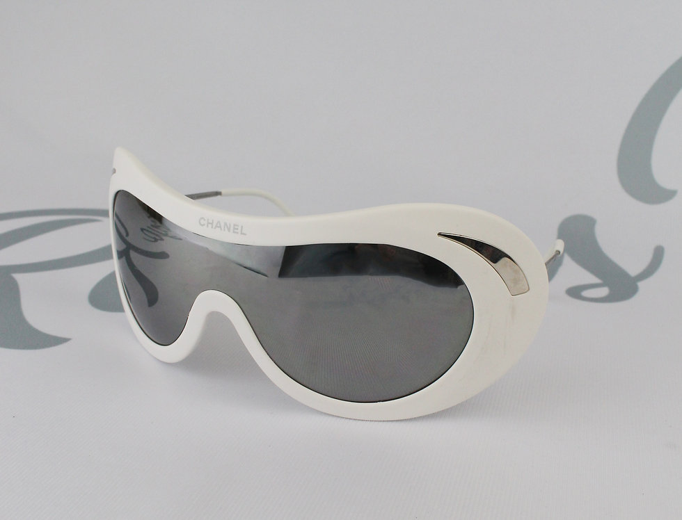 Rare White Chanel Ski Glasses Silver Fall 2000 Sunglasses