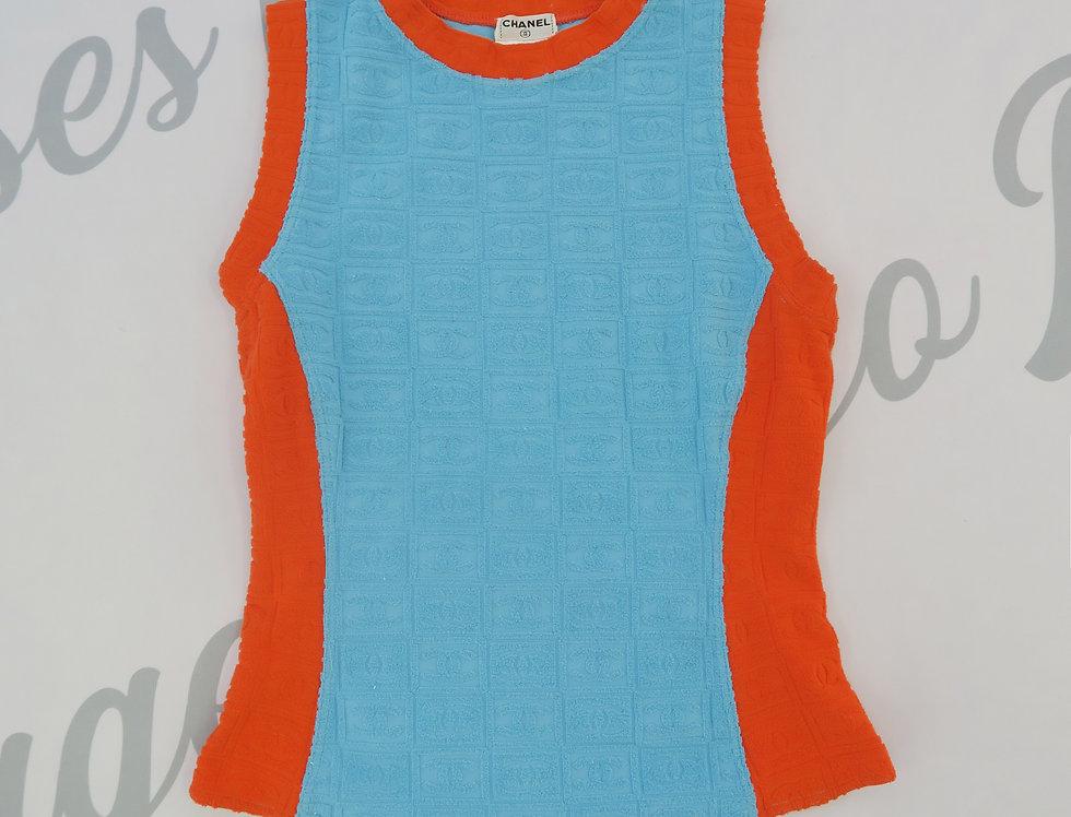 Chanel Orange & Blue All Over CC Logo Terry Cloth Sleeveless Tank Top Shirt