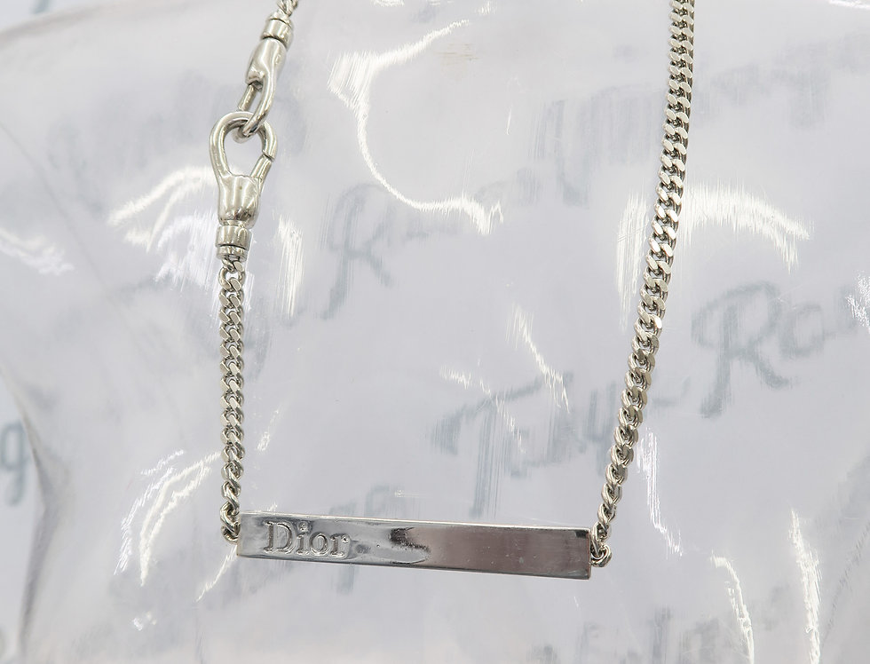 Christian Dior Silver Chain Plaque Necklace
