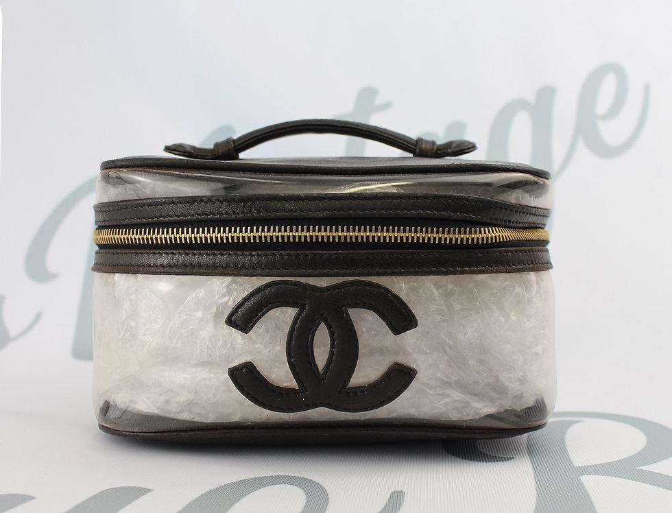 Vintage Chanel Black Leather Vinyl Combination CC Mark Vanity Bag Purse