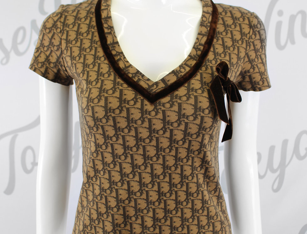 Christian Dior Short Sleeve Trotter Logo Monogram Print Top Velvet Bow