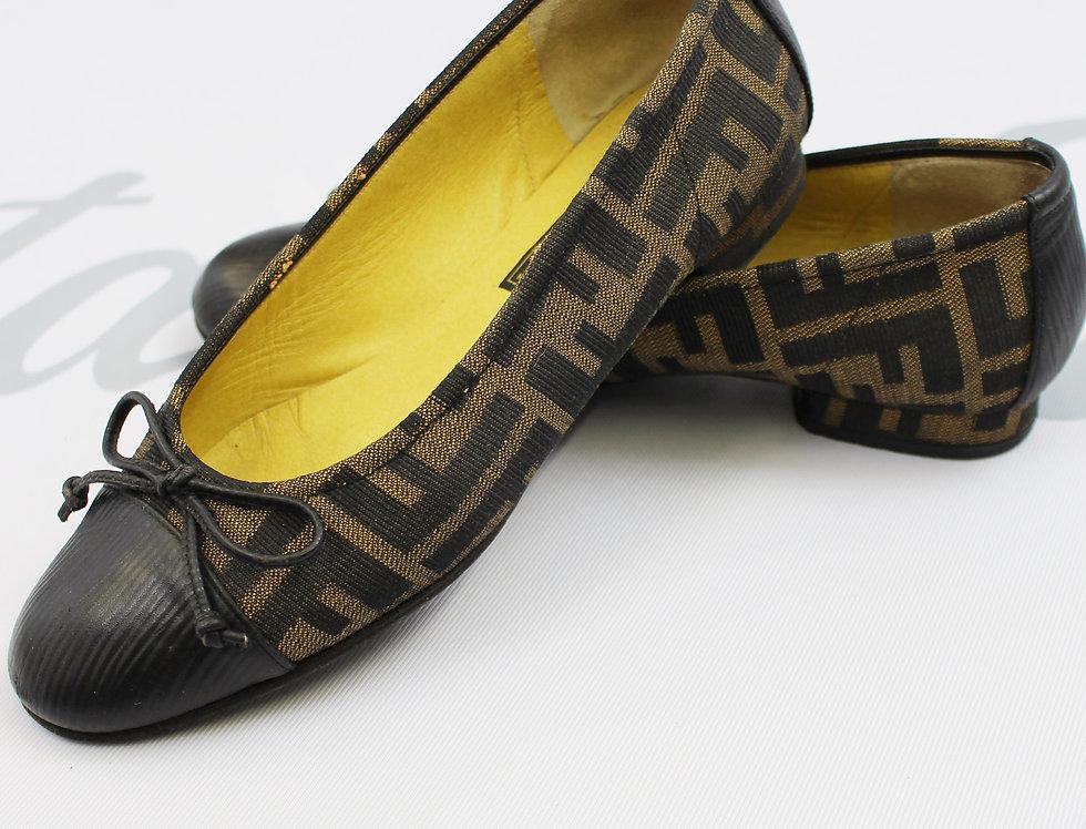 Fendi Zucca FF Logo Print Ballet Shoes Flats