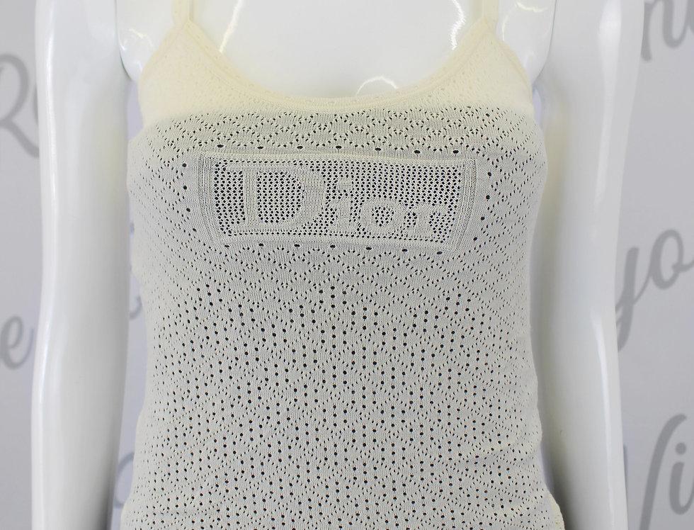 Christian Dior Cream Knit Logo Cami