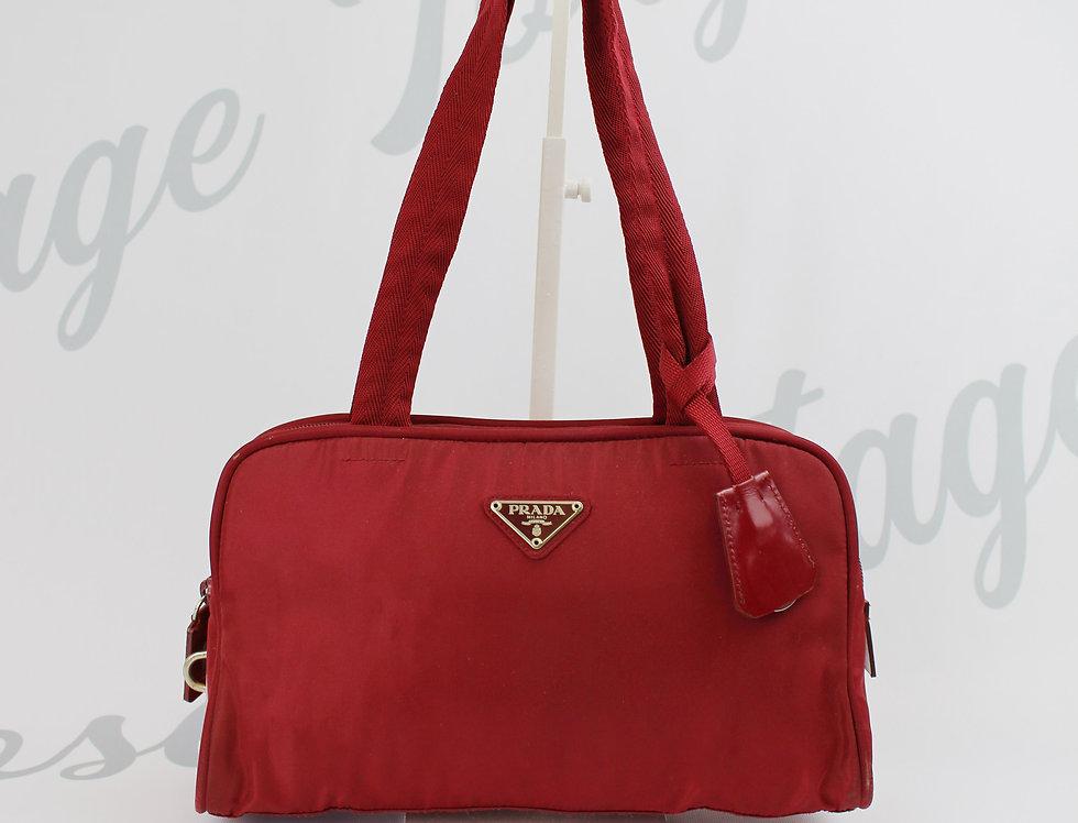 Vintage Prada Nylon Red Top Handle Handbag