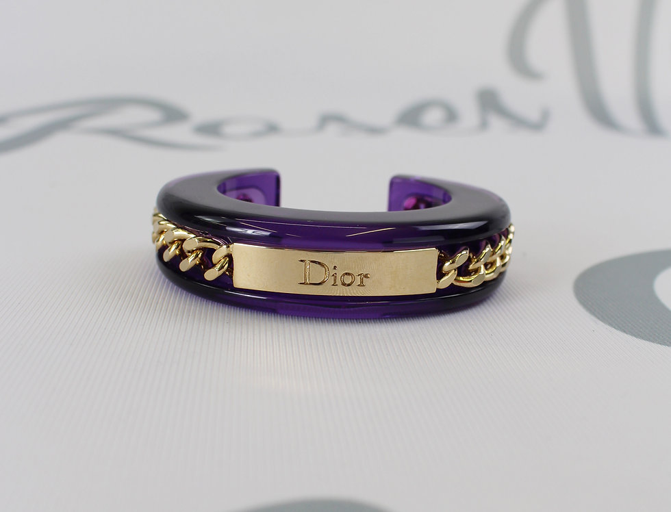 Christian Dior Purple Lucite Bangle Gold Tone Chain