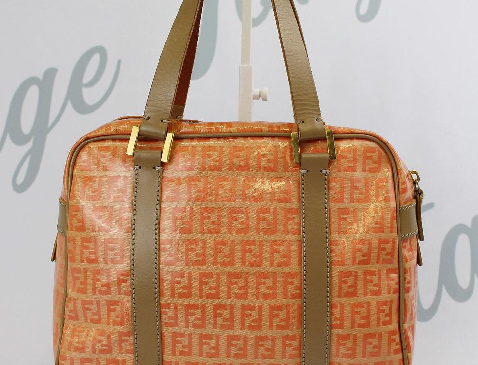 Fendi Orange & Tan FF Logo Monogram Handbag