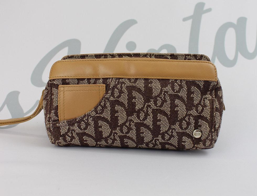 Vintage Dior Canvas & Leather Brown Wristlet Pouch