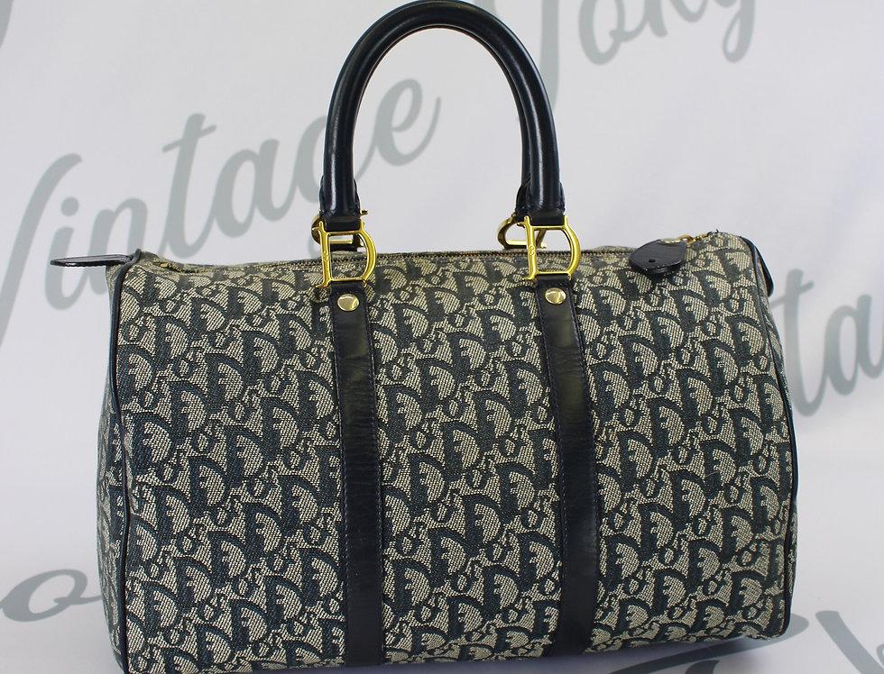 Christian Dior Navy Boston Bag Trotter Oblique Monogram Print