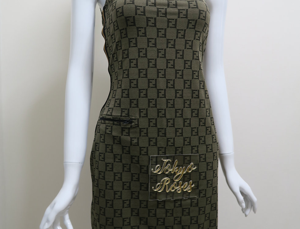 Fendi Grey FF Zucca Logo Print Dress With Yellow Stripes