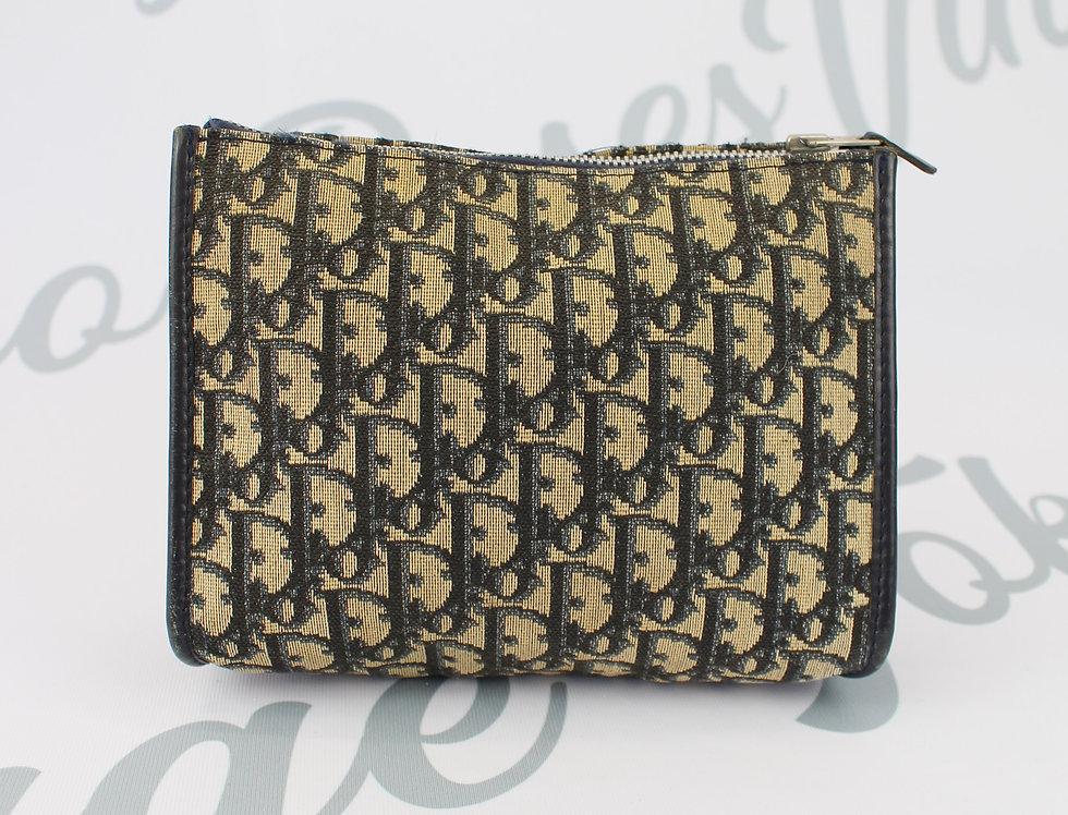 Christian Dior Vintage Trotter Oblique Monogram Print Clutch Bag Navy Small