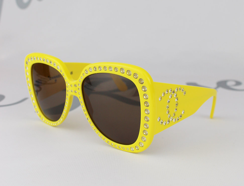 Yellow Vintage Runway Crystal CC Oversized Butterfly Sunglasses