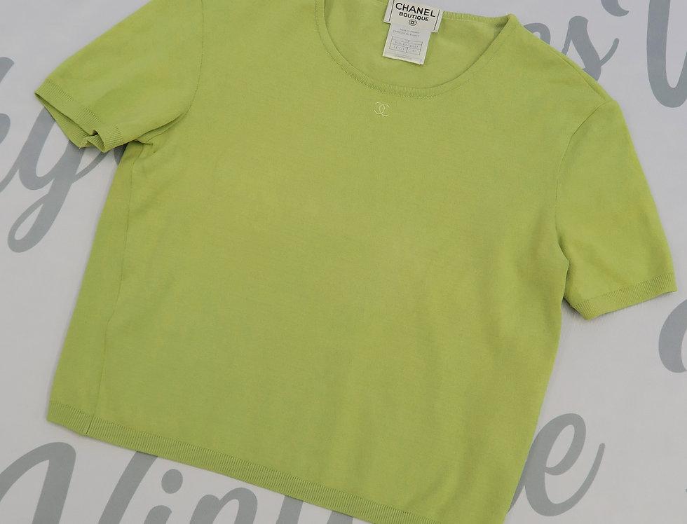 Chanel Green CC Logo T Shirt 1998