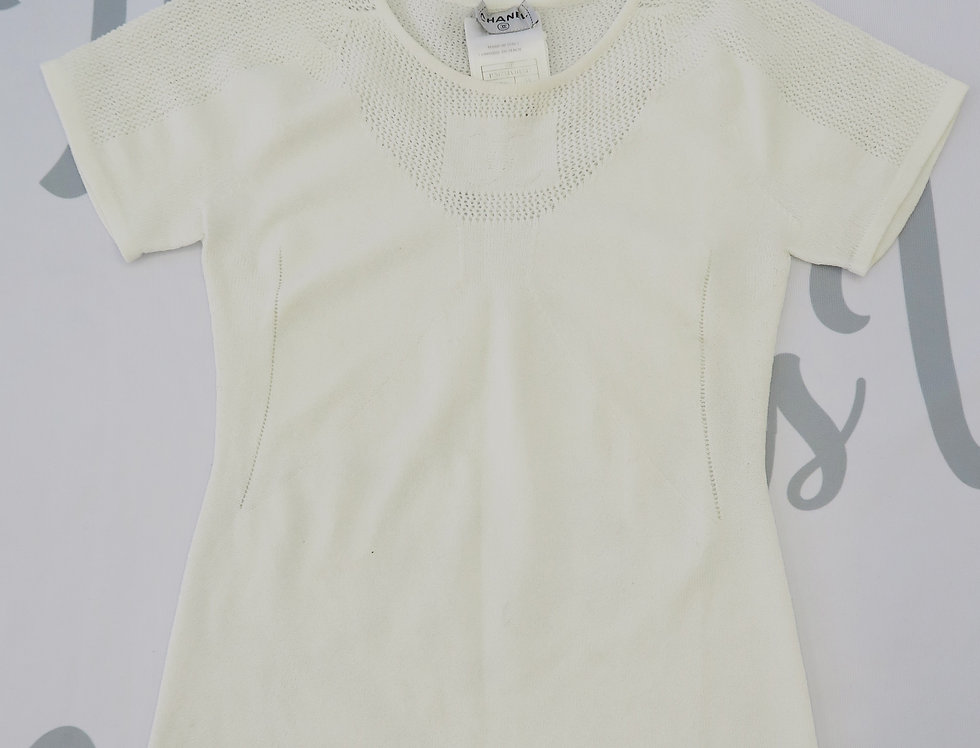 Chanel CC Logo Chest Knit T Shirt White