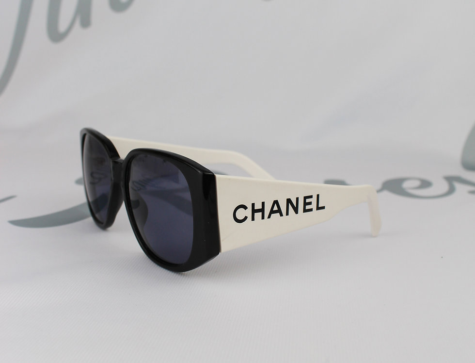 Chanel 1995 Logo Text Side Black & White Sunglasses