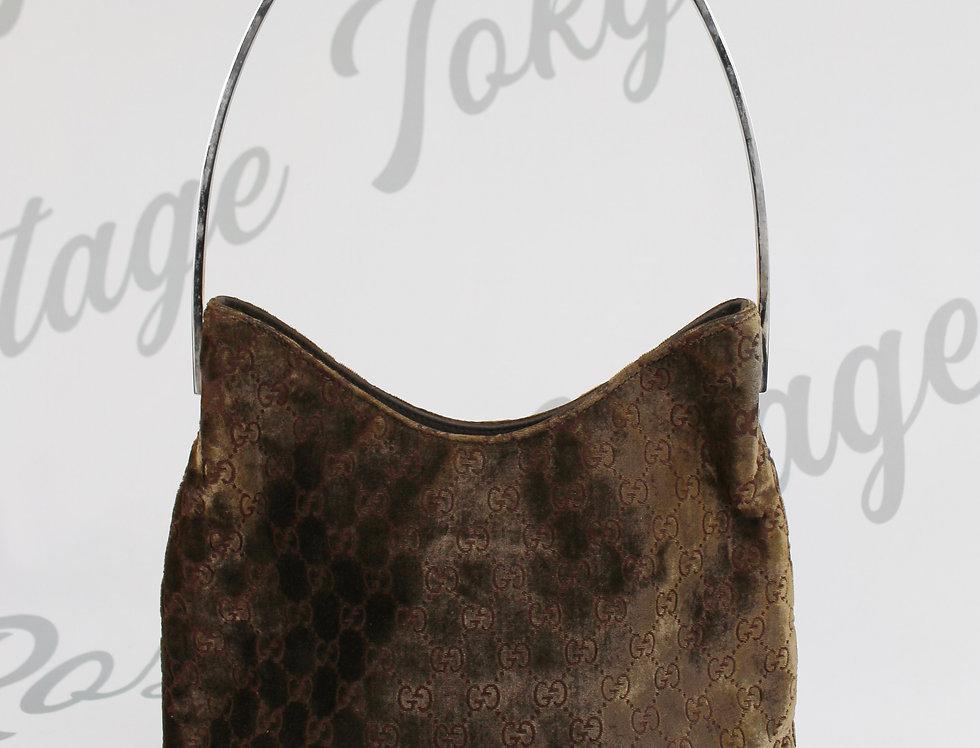 Gucci Brown Velvet Metal Handle Handbag