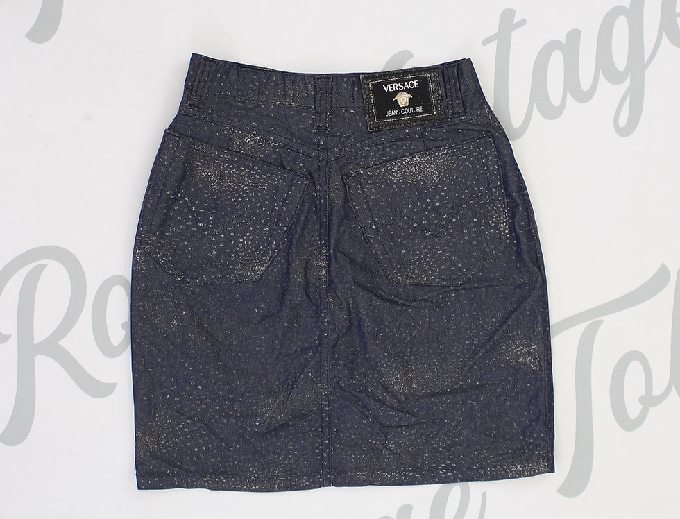 Versace Glitter Denim Mini Skirt