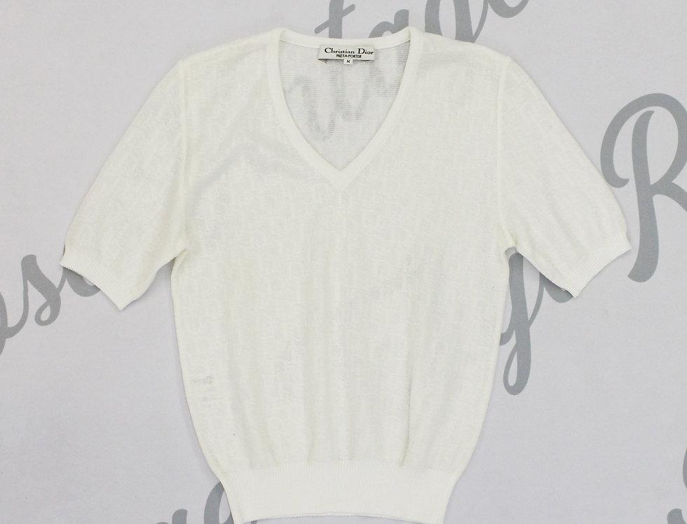 Christian Dior Trotter Logo Monogram Print Knit Sweater White