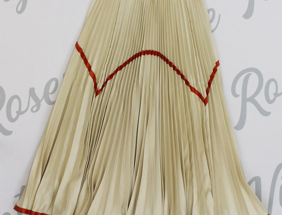 Todd Oldham Pleated Midi Skirt Champagne Red Stripe