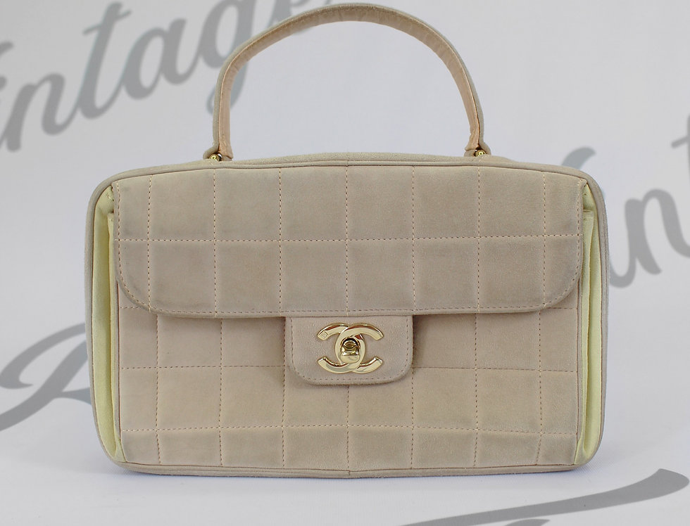 Chanel Suede Nude Square Quilted Top Handle Bag