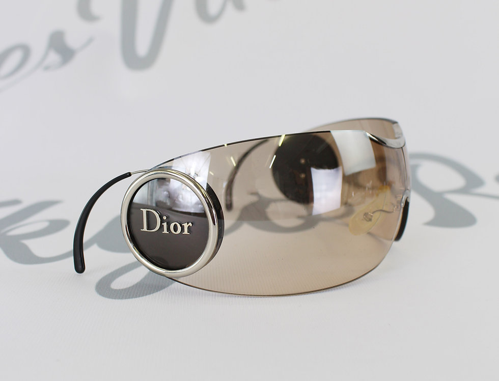 Vintage Christian Dior Shield Sunglasses Rare Logo Side Glasses Light Brown