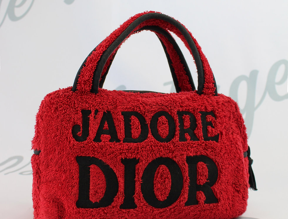 Christian Dior Jadore Dior Red & Black Terry Towel Boston Bag