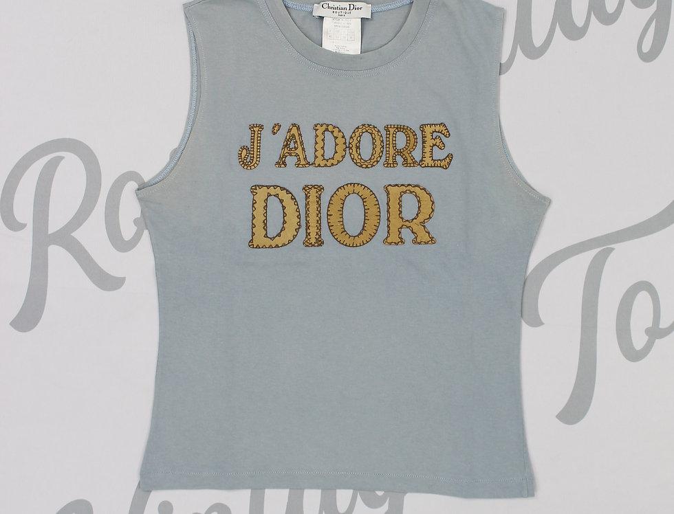 Christian Dior Blue & Beige J'adore Dior Logo Print Tank Top Jadore