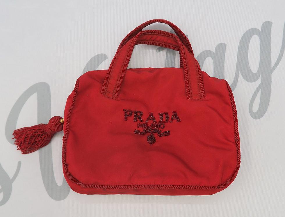 Red Prada Nylon Beaded Mini Bag