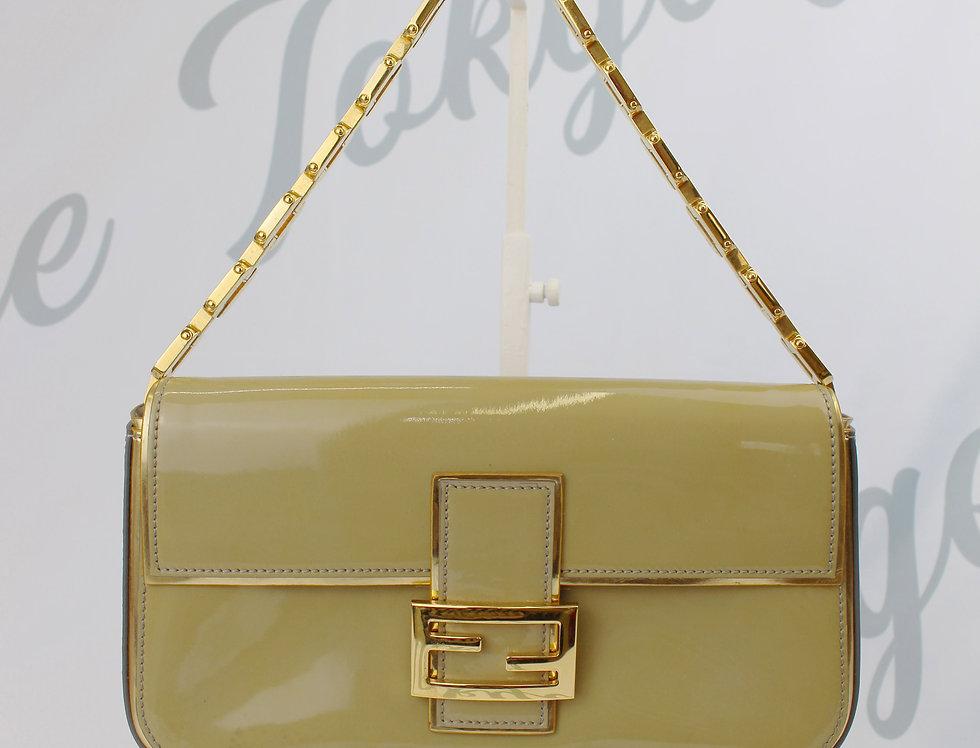 Fendi Natural Chain Strap Patent Baguette Handbag Gold RARE Baguettemania