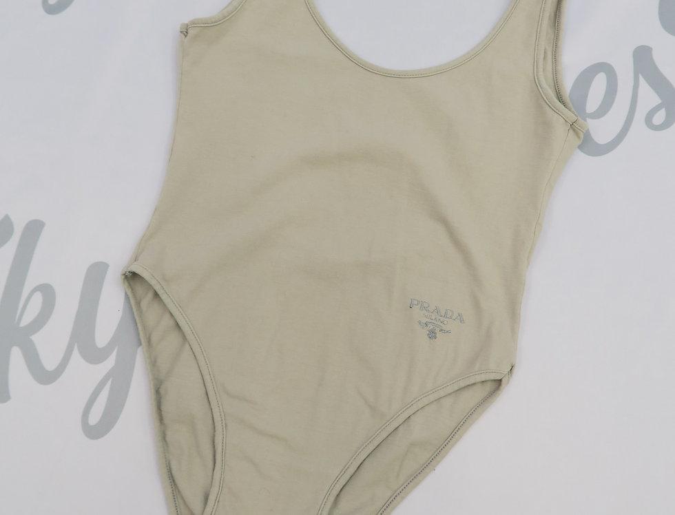 Prada Logo Bodysuit Nude