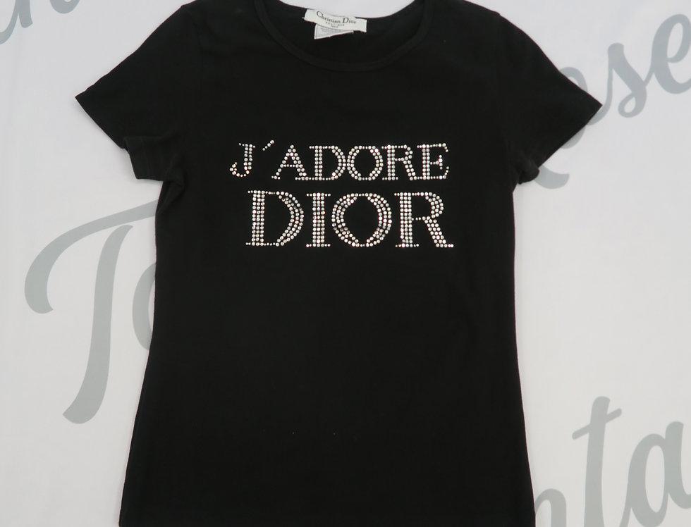 Christian Dior Jadore Dior Rhinestone Crystal Logo Bust T Shirt Top