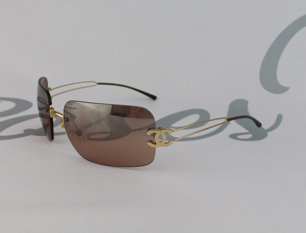 Chanel Brown Gold Tone CC Side  Sunglasses