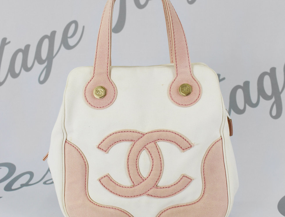 Chanel Marshmallow White & Pink Canvas Bag