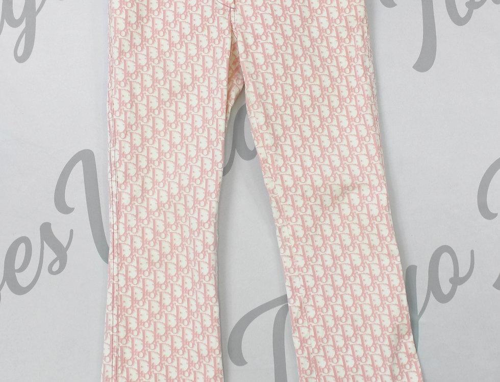 Christian Dior Pink Logo Print Trotter Pants Long