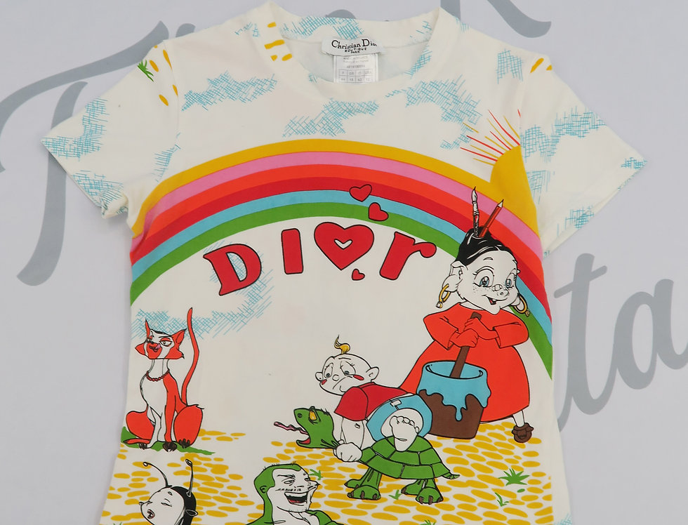Christian Dior Rainbow Cartoon T Shirt Vintage