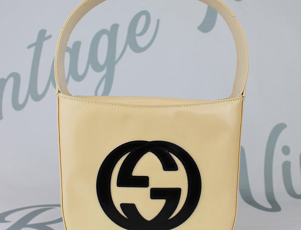 Gucci Patent Cream Black Jumbo Logo Mini Bag