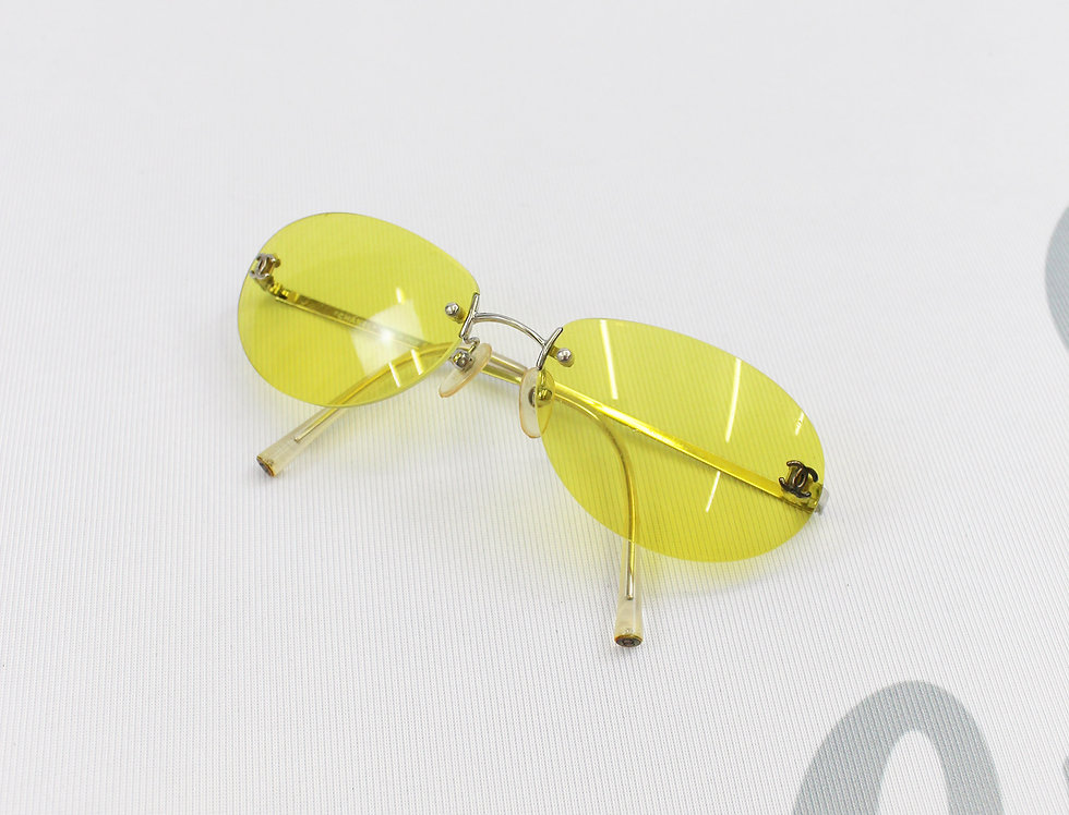Vintage Chanel Yellow Tinted Sunglasses CC Logo Glasses