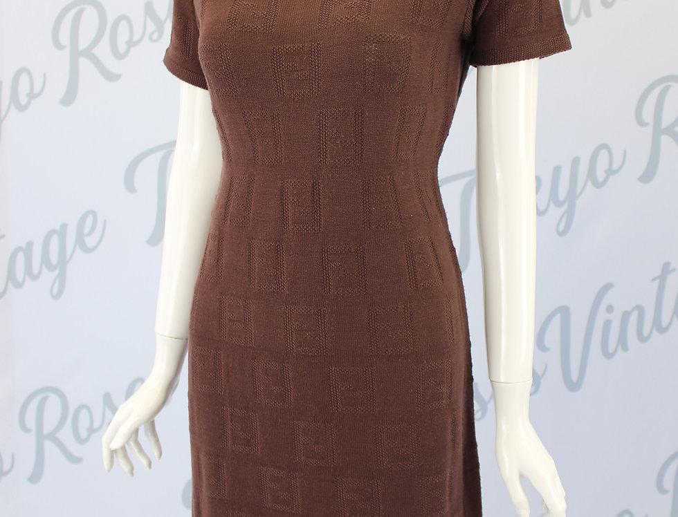 Vintage Fendi FF Zucca Logo Print Knit Dress