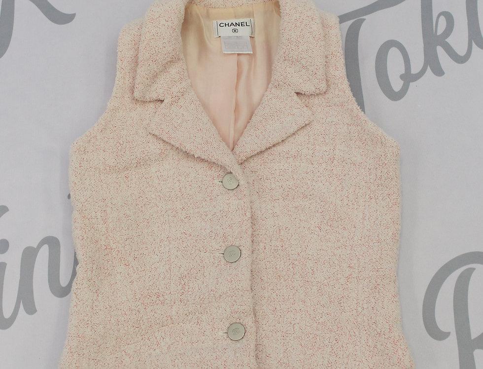 Pink Chanel Tweed Sleeveless Jacket Top