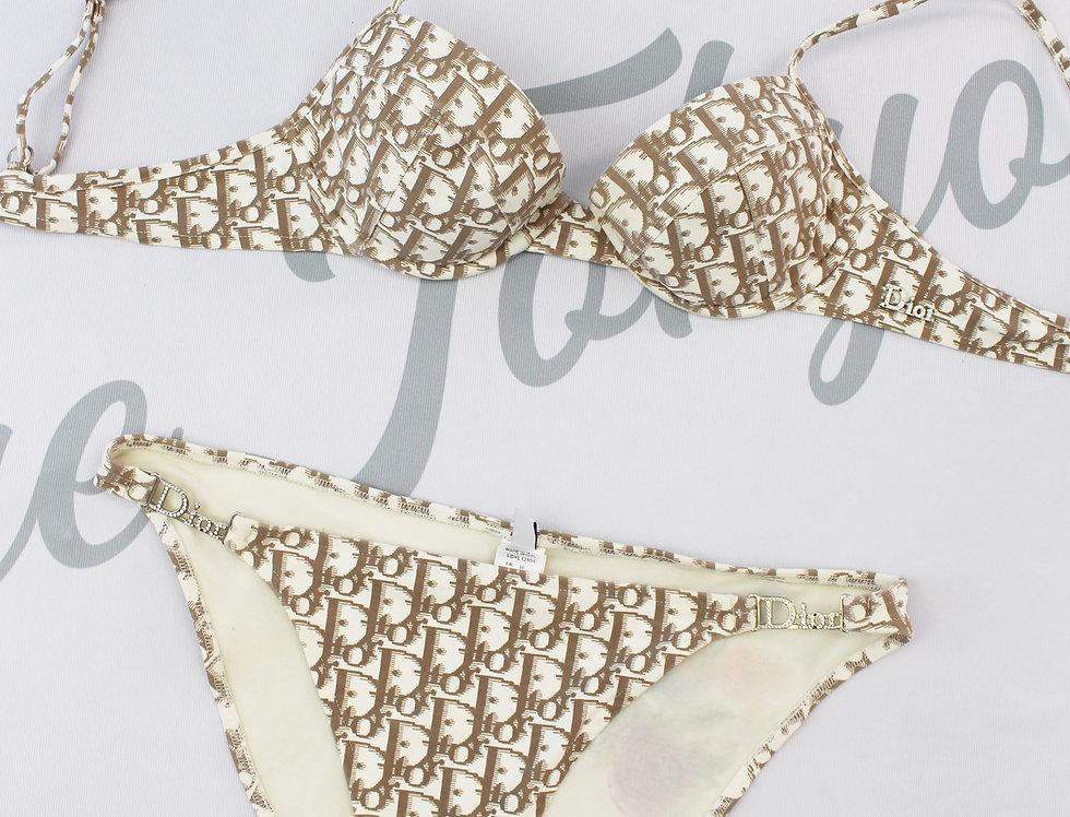 Christian Dior Bikini Brown Trotter Logo Monogram Print Swimsuit