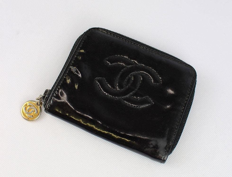 Chanel Black Patent Coin Pouch Case CC Logo