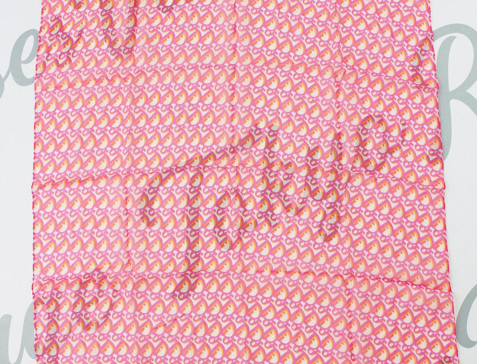 Christian Dior Pink Orange Sheer Scarf Trotter Oblique Pattern